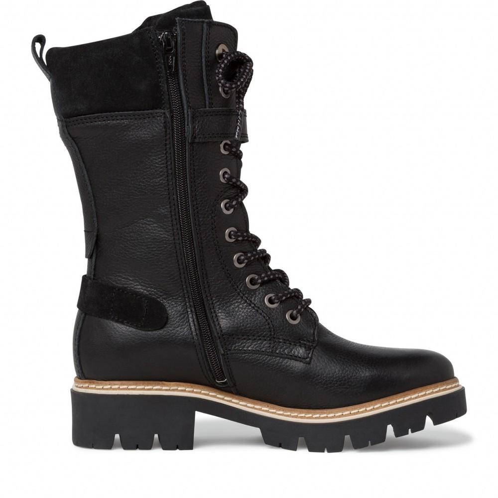 Tamaris Caramello Duo Tex Tall Hiker Boot Black