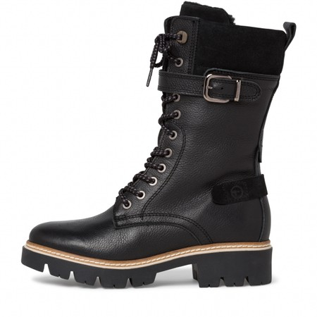 Tamaris  Caramello Duo Tex Tall Hiker Boot - Black