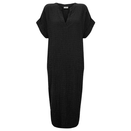 Thing Long Textured Shirt Dress - Black