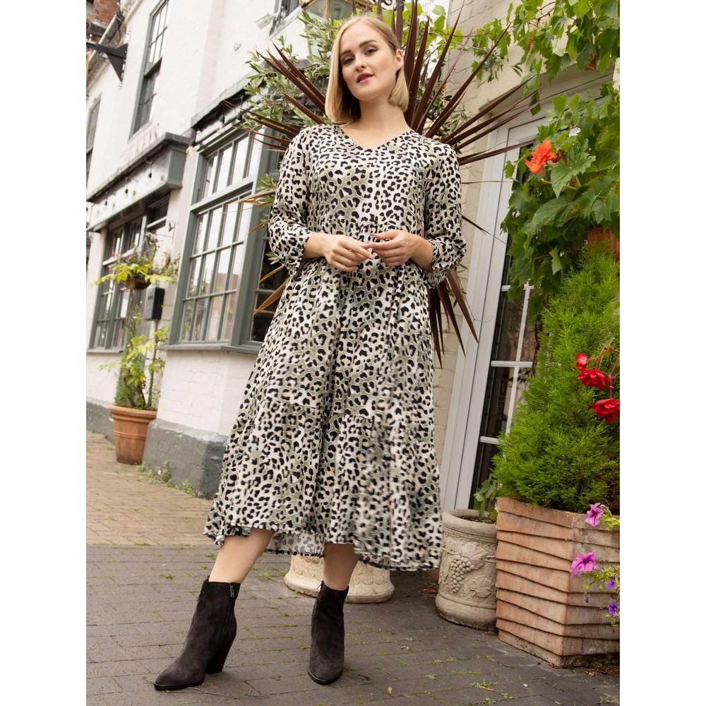 Amazing Woman  Pennie V Neck Prairie Dress Charcoal / Khaki