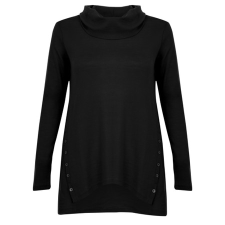 Foil Problems Solved Swing Cowl Knit Top - Black