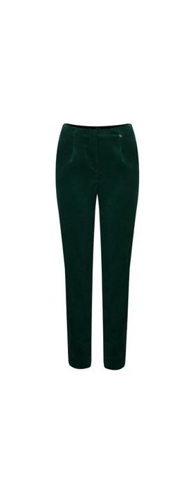 Robell Marie Green Stretch Cotton Velvet Slim Full Length Trouser Dark Green 89