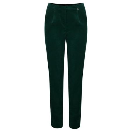 Robell Marie Green Stretch Cotton Velvet Slim Full Length Trouser - Green