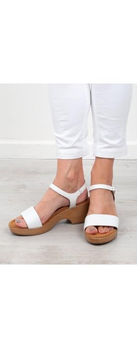 Gemini Label Shoes Aneka Icon White Leather Wedge Sandal Blanco White