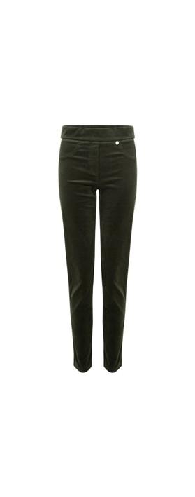 Robell Rose Green NeedleCord Slimfit Trousers Green 187