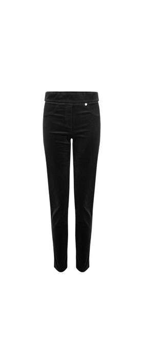 Robell Rose Black NeedleCord Slimfit Trousers Black 90
