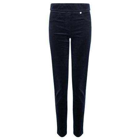 Robell Rose Navy NeedleCord Slimfit Trousers - Blue