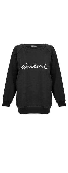 Chalk Nancy Weekend Oversized Comfy Sweatshirt Black / White