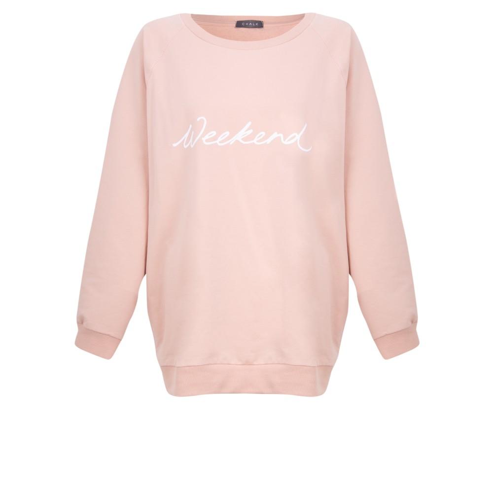 Chalk Nancy Weekend Oversized Comfy Sweatshirt Dusky Pink / White