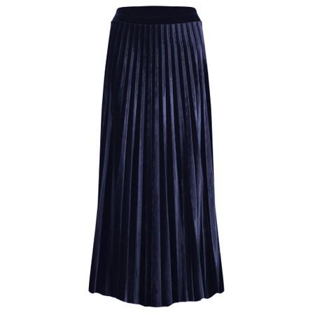 Pour Moi Velvet Pleated Skirt - Blue