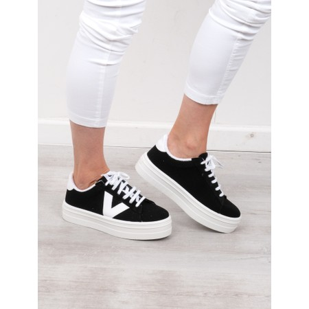 Victoria Shoes Barcelona Canvas Flatform Trainer Shoe - Black
