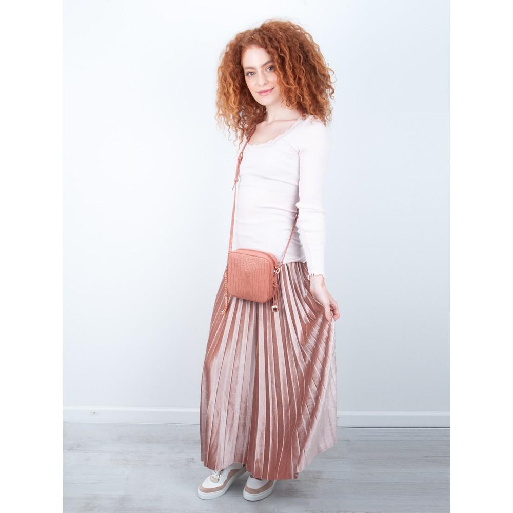 Pour Moi Velvet Pleated Skirt Cipria