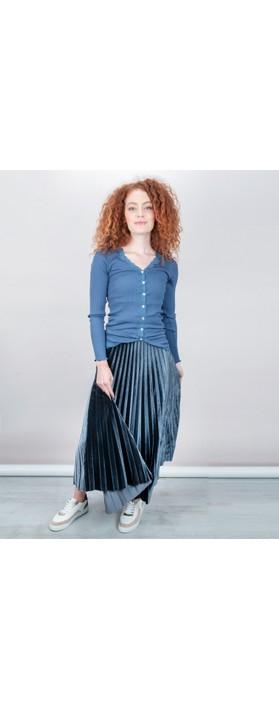 Pour Moi Velvet Pleated Skirt Blu