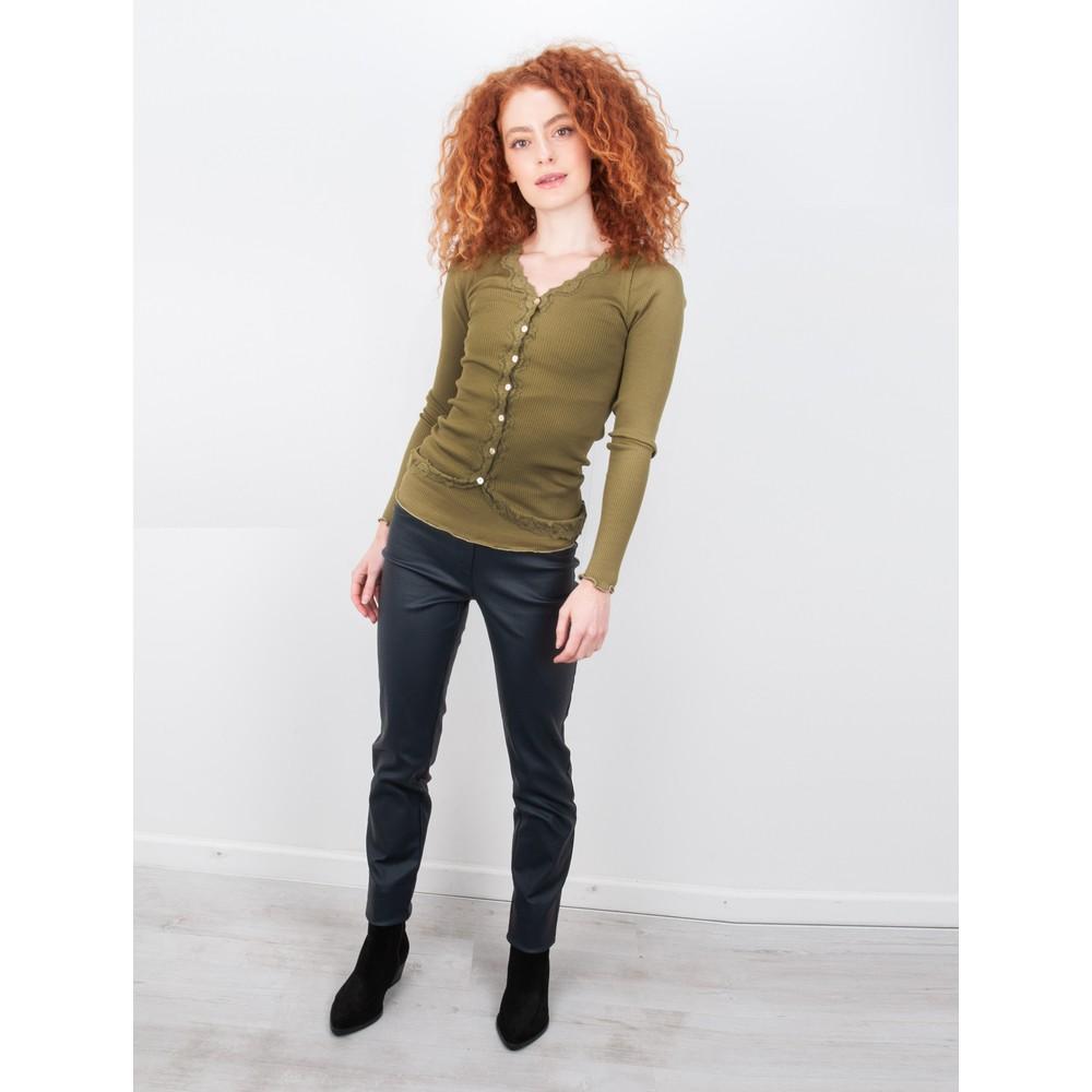 Rosemunde Babette Rib Silk and Lace Trim Fitted Cardigan 622-Leaf Green