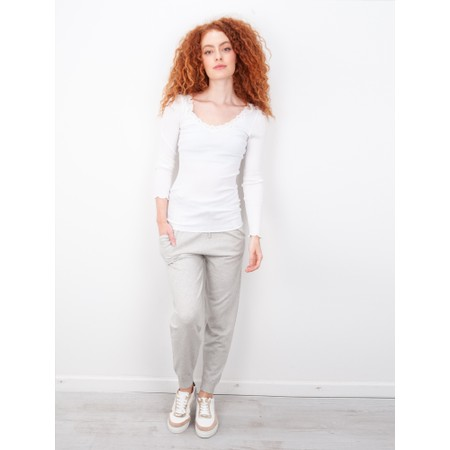 Rosemunde Babette Rib Silk and Lace Trim Fitted Long Sleeve Top - White