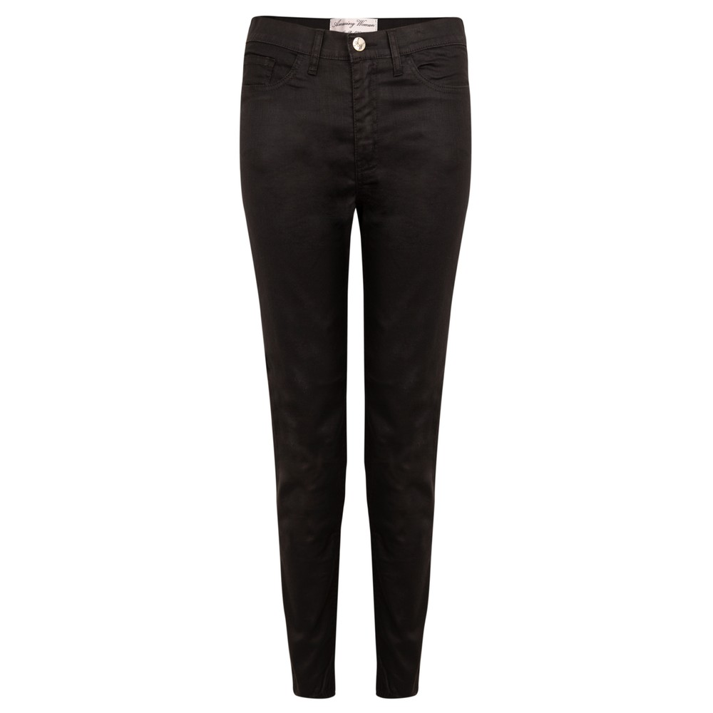 Amazing Woman 12 Coated Mid Rise Ankle Jean Black