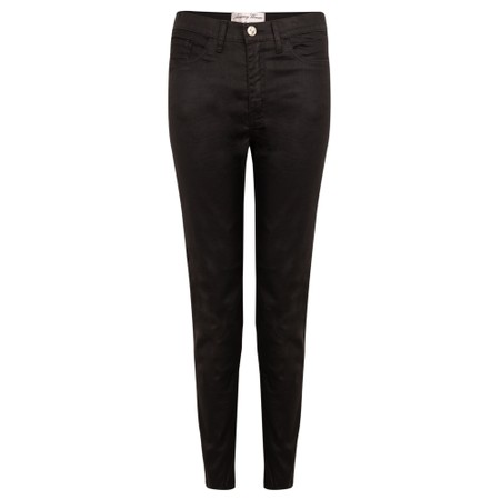 Amazing Woman  12 Coated Mid Rise Ankle Jean - Black
