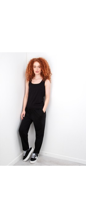 Thing Square Neck Bamboo Sleeveless T-Shirt Black