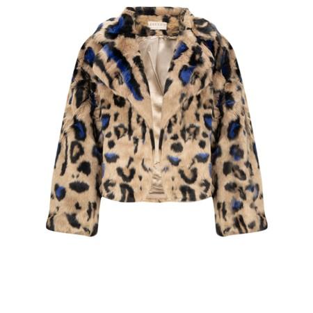 Jayley Faux Fur Animal Print Cropped Jacket - Blue