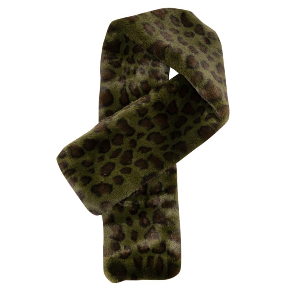 Jayley Animal Print Faux Fur Scarf G07 Green Camo Leopard