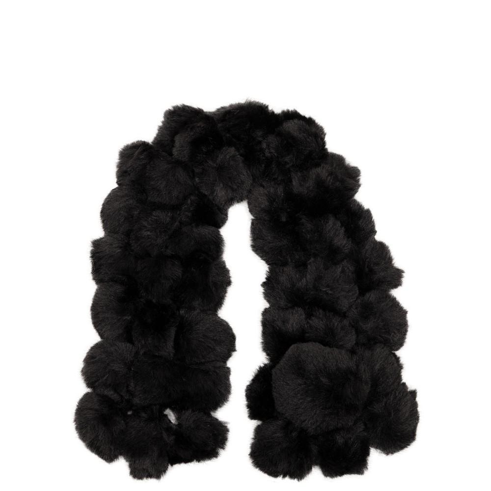 Jayley Faux Fur Pom Scarf 01 Black