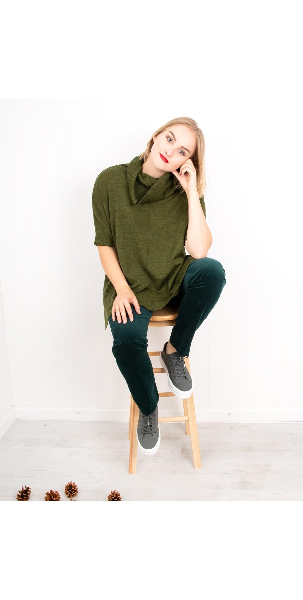 Marie Green Stretch Cotton Velvet Slim Full Length Trouser main image