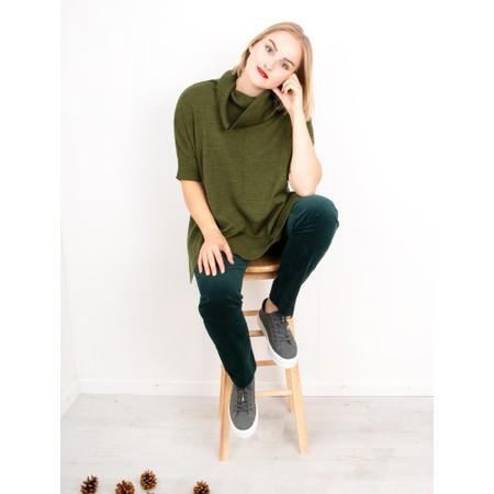 Robell  Marie Stretch Cotton Velvet Slim Full Length Trouser - Green