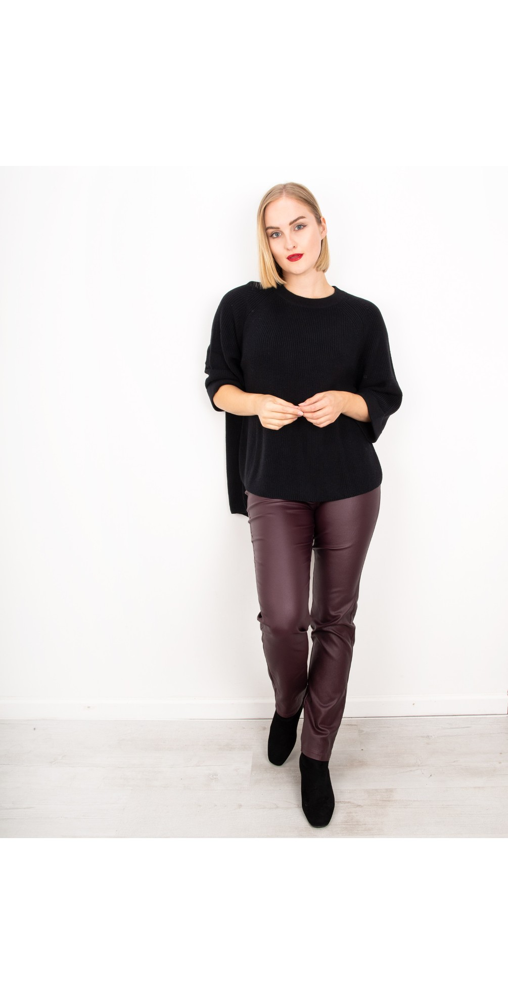Rose Bordeaux Faux Leather Trouser main image