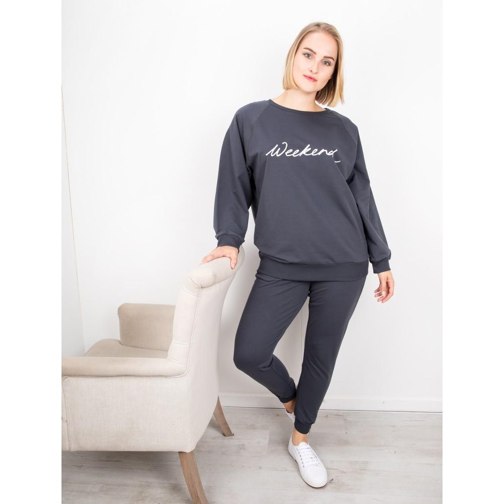 Chalk Nancy Weekend Oversized Comfy Sweatshirt Charcoal / White