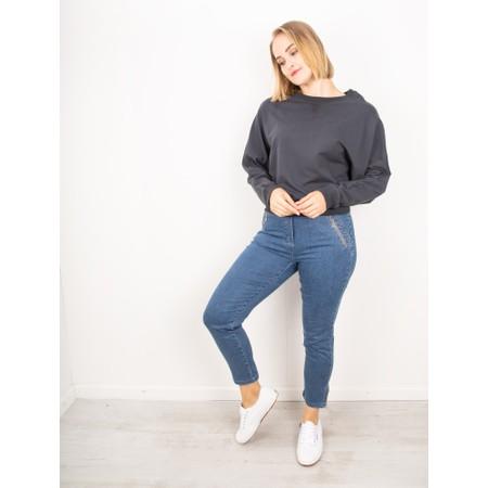Chalk Daisy Plain Batwing Sweatshirt - Black
