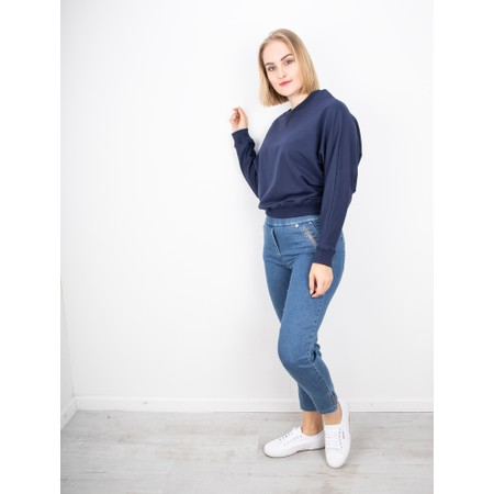 Chalk Daisy Plain Batwing Sweatshirt - Blue