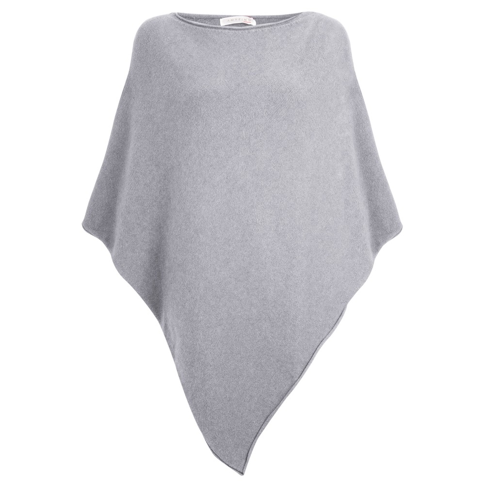 Amazing Woman Poncho in Supersoft Knit  Silver