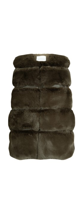RINO AND PELLE Janay Faux Fur Gilet Dark Chocolate