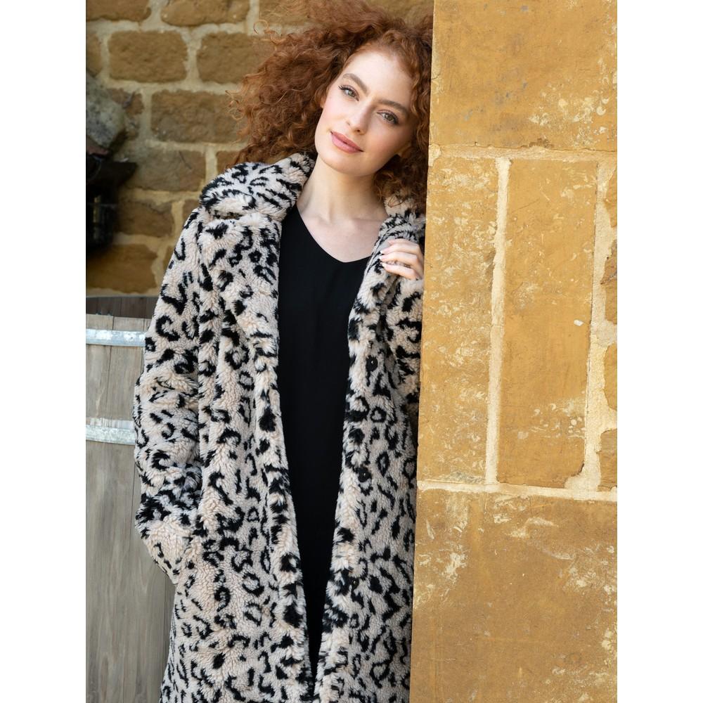 RINO AND PELLE Kensia Teddy Coat Grey Leopard