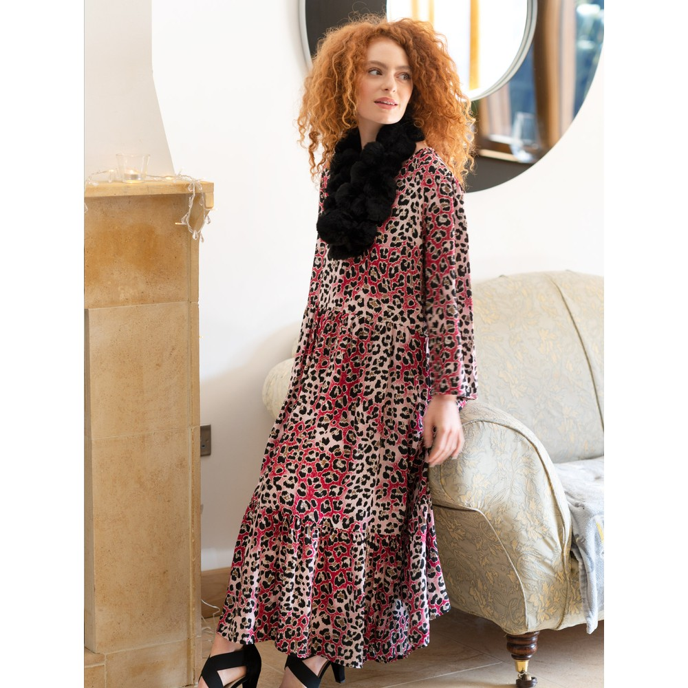 Amazing Woman  Pennie V Neck Prairie Dress Claret / Rose