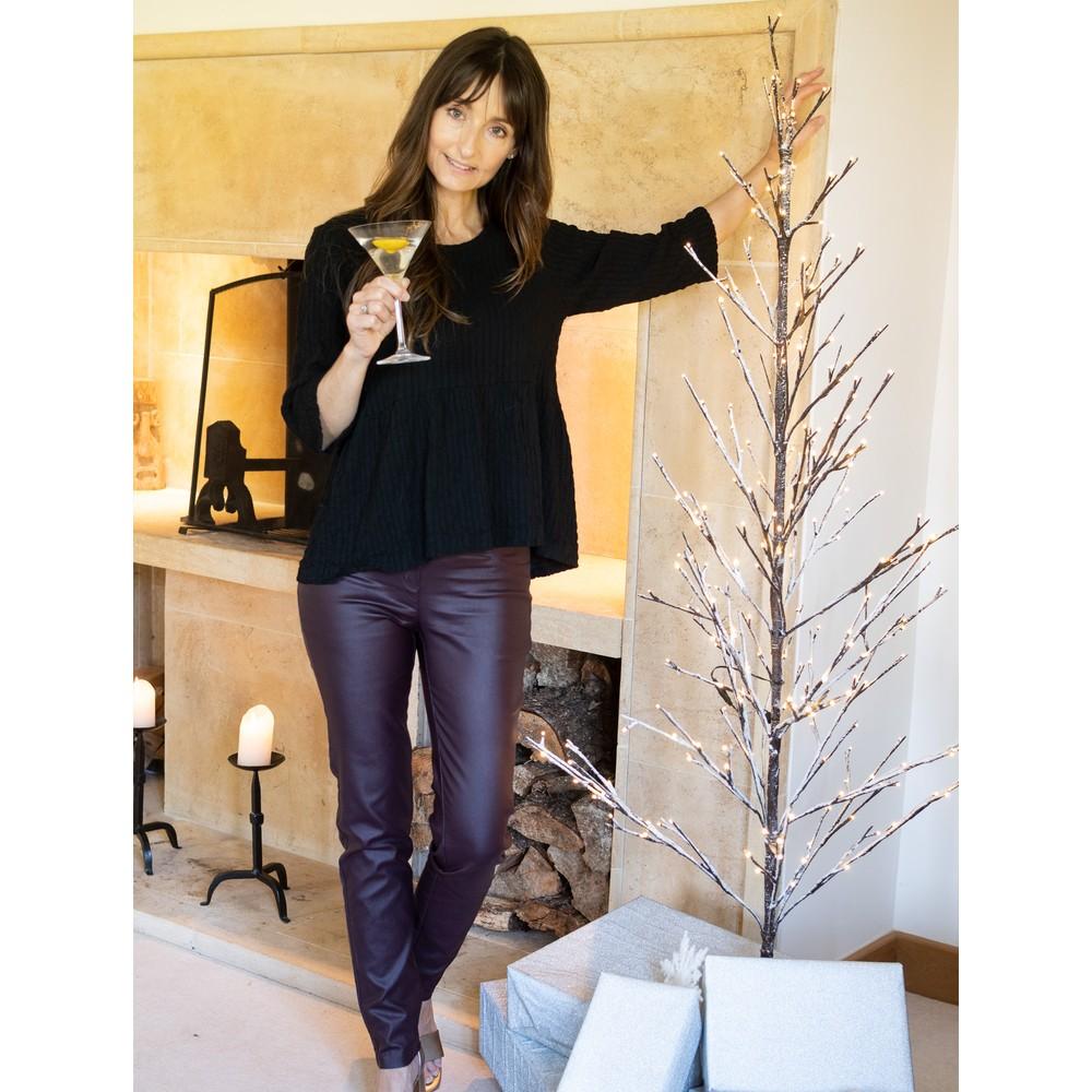 Robell  Rose Bordeaux Faux Leather Trouser Bordeaux 58