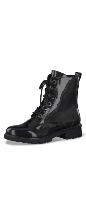 Tamaris  Major Patent Military Style Ankle Boot Anthracite