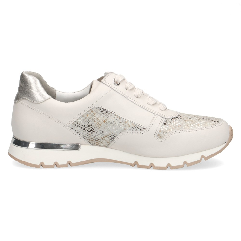 Caprice Footwear Comfort Trainer  White / Silver / Snake