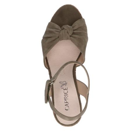 Caprice Footwear Knot Suede Wedge sandal  - Green