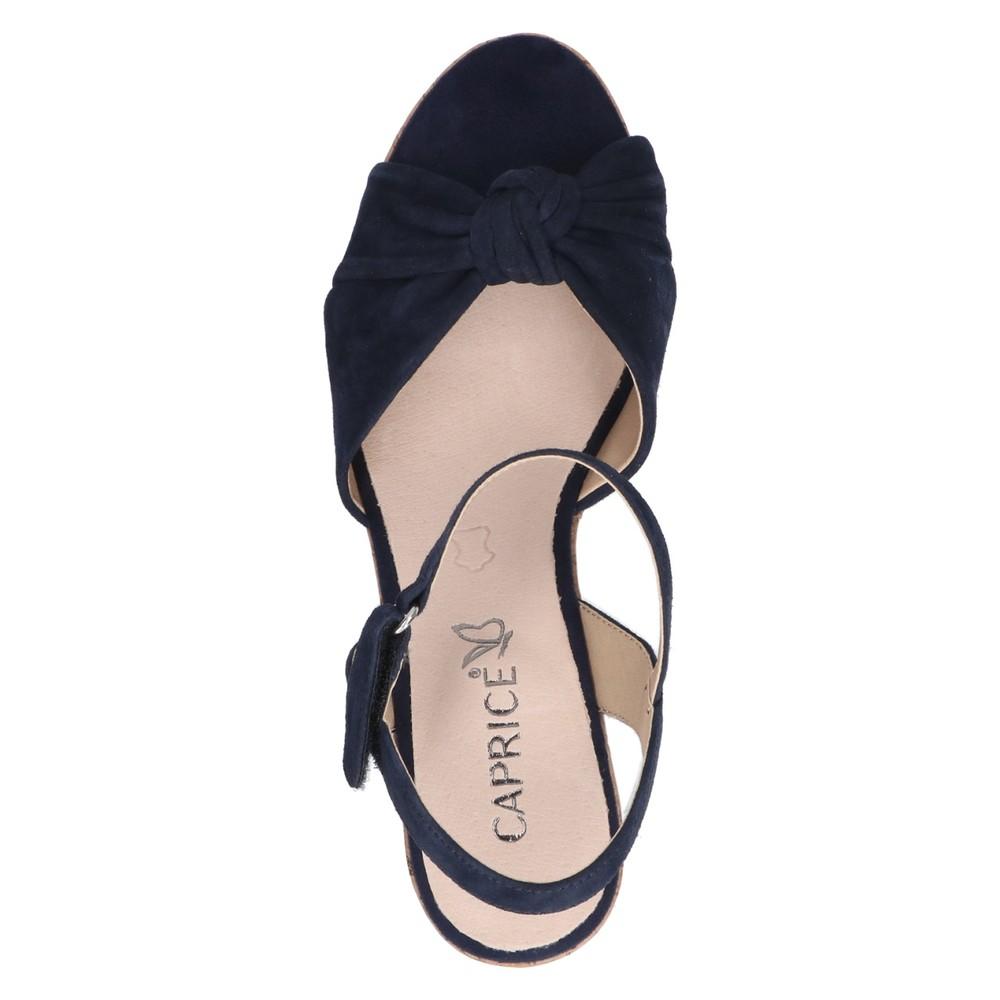 Caprice Footwear Knot Suede Wedge sandal  Ocean Navy