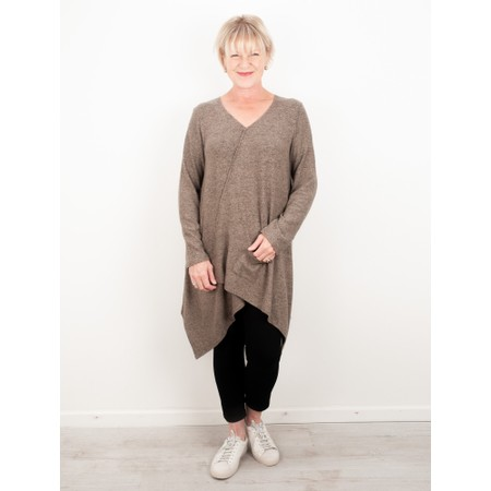 Thing Asymmetric Hem Long Supersoft Fleece Tunic - Beige