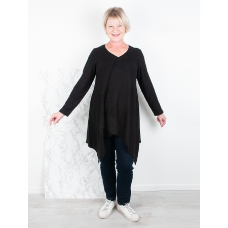 Thing Asymmetric Hem Long Supersoft Fleece Tunic - Black
