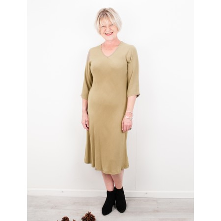 Thing V Neck Fit and Flare Crepe Dress - Beige