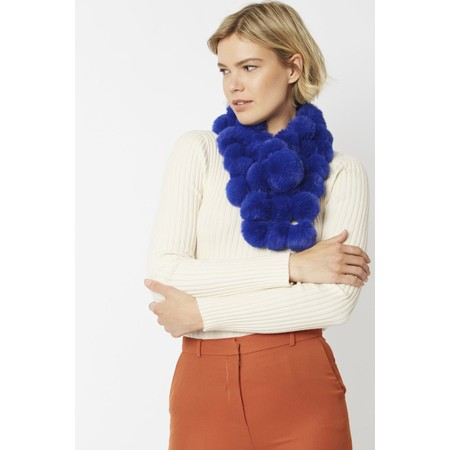 Jayley Faux Fur Pom Scarf - Blue