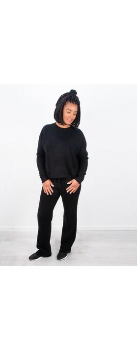 Amazing Woman Jogger Supersoft Knit Wide Leg Lounge Pant  Black