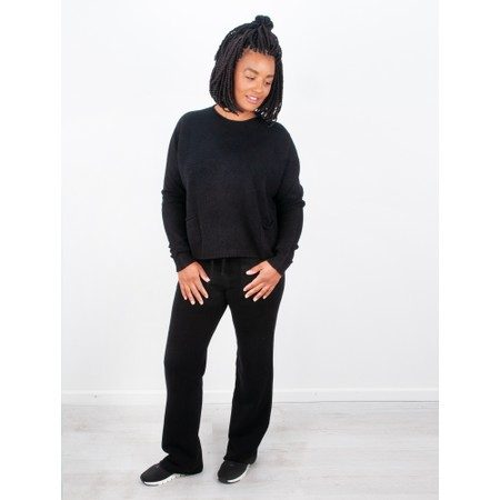 Amazing Woman  Jogger Supersoft Knit Wide Leg Lounge Pant  - Black