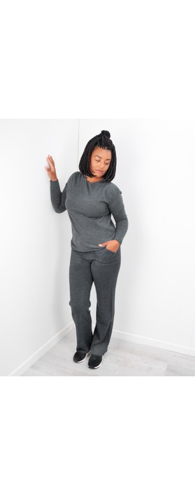 Amazing Woman  Jogger Supersoft Knit Wide Leg Lounge Pant  Charcoal