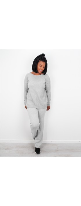 Amazing Woman Jogger Supersoft Knit Wide Leg Lounge Pant  Silver