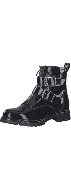 Tamaris Soul buckle Military Style Ankle Boot Black Patent
