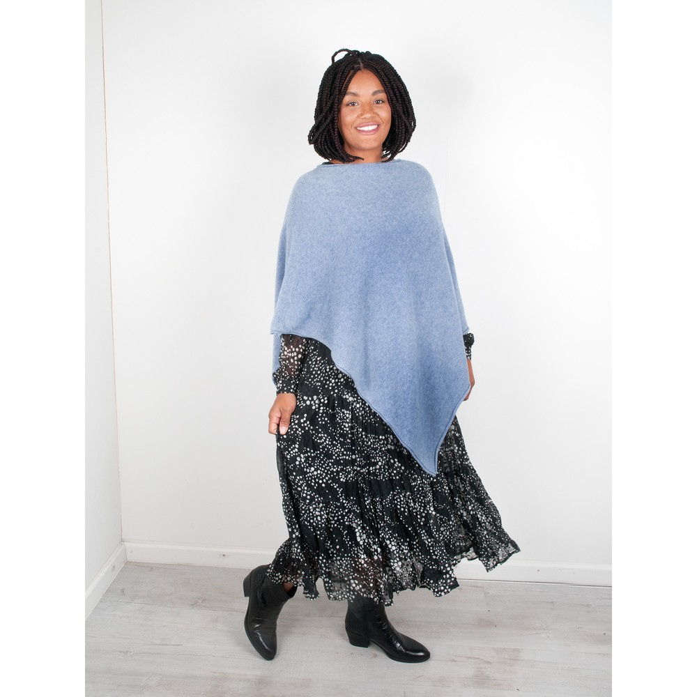 Amazing Woman  Poncho in Supersoft Knit  Denim